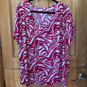 Fushia / White Tiger Stripe Dressy Tee size 3X